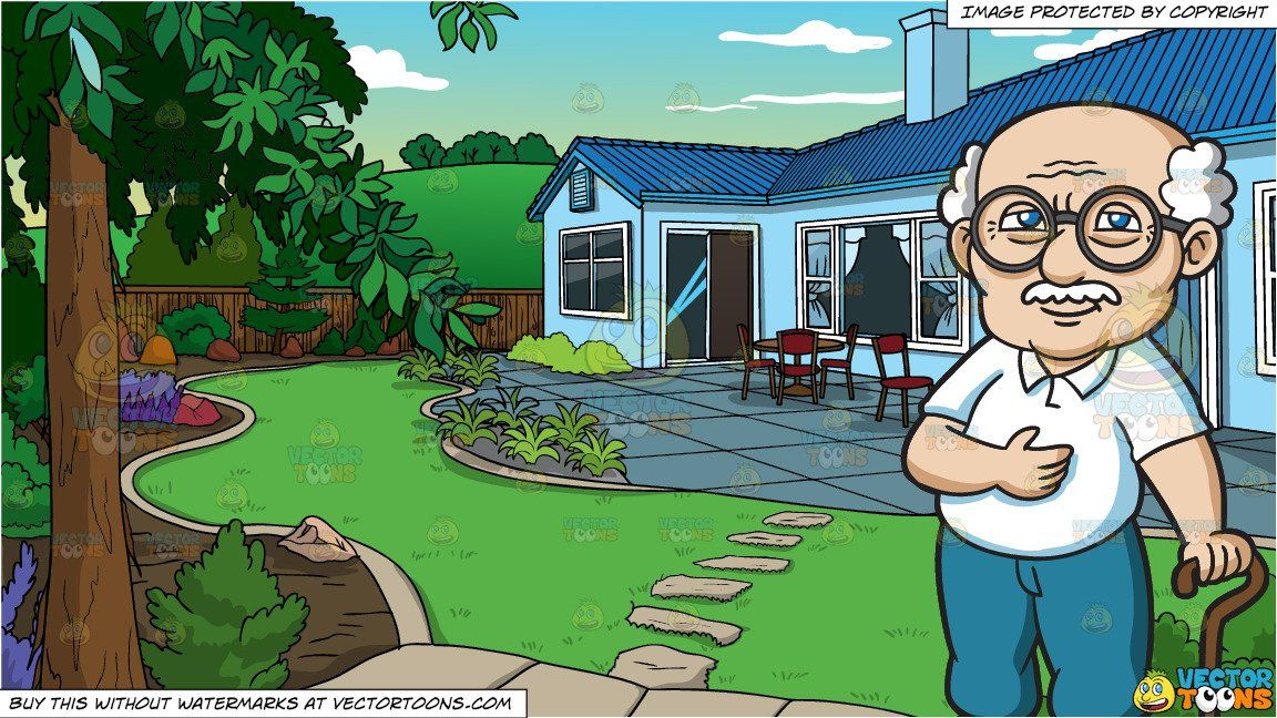 Home clipart backyard. Cartoon a grandfather wearing