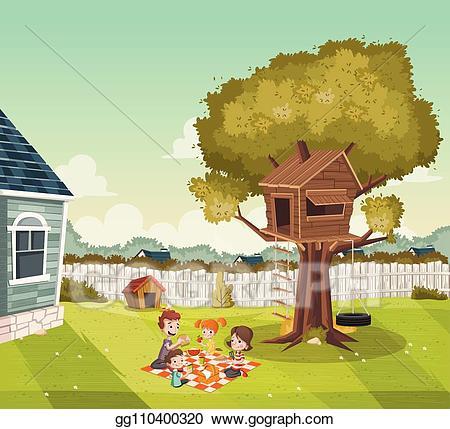 Vector cartoon family having. Home clipart backyard