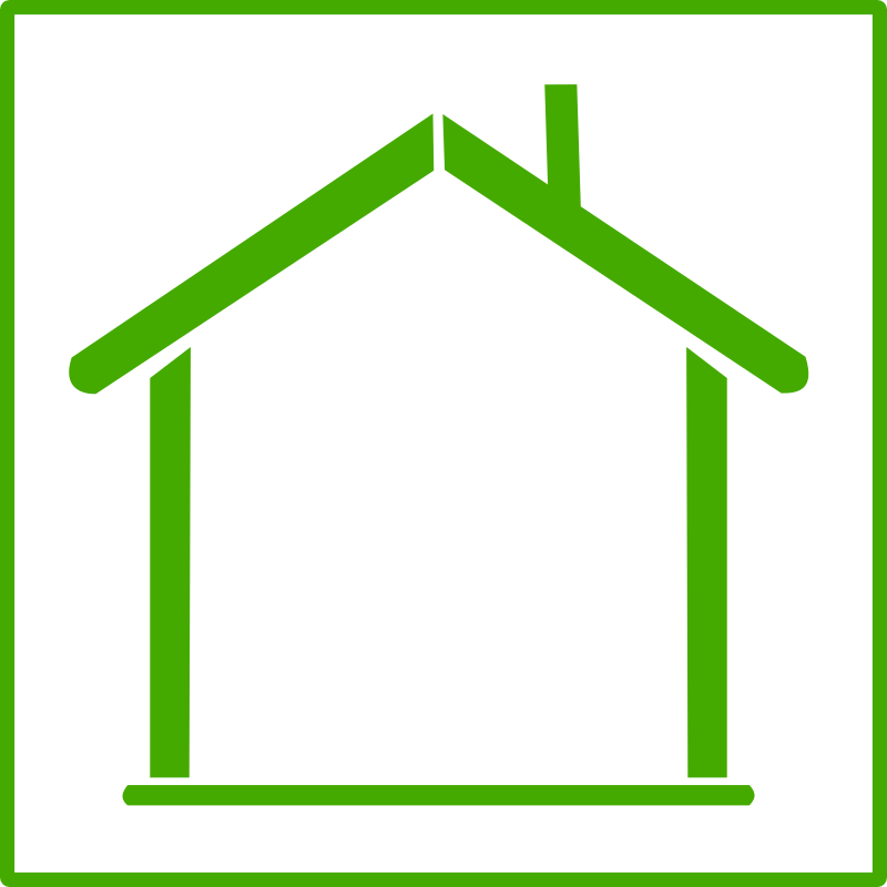 Home clipart outline. Eco green house icon