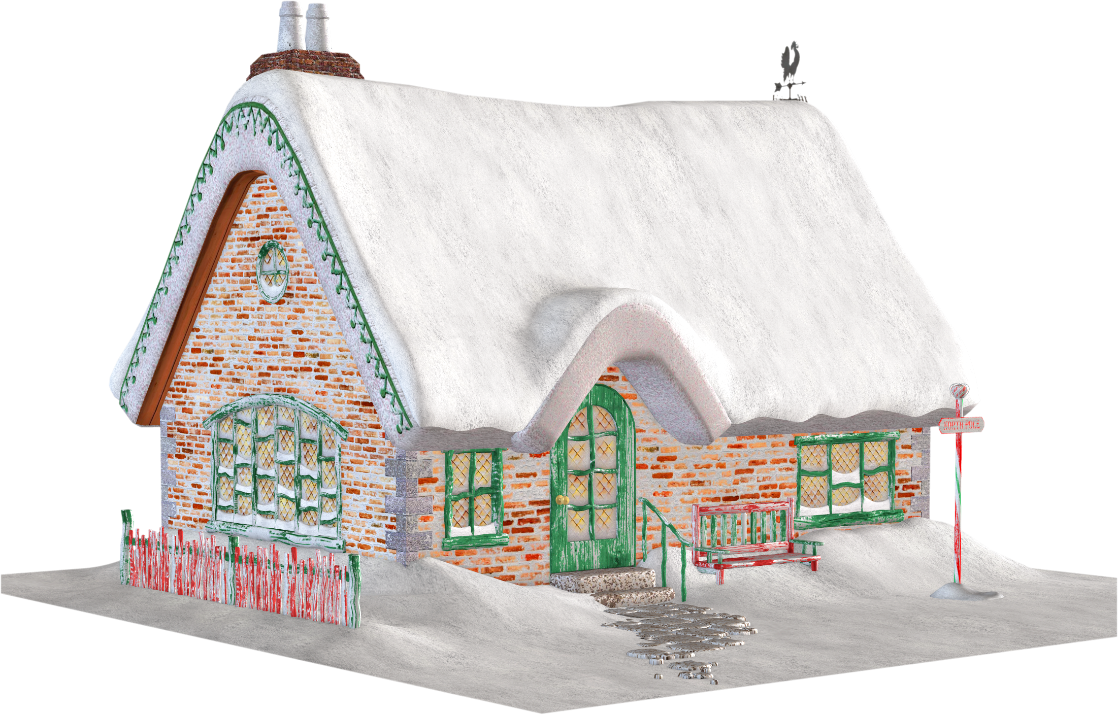 Free christmas cottage santas. Home clipart place