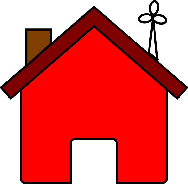 Red and wind turbine. Windy clipart house