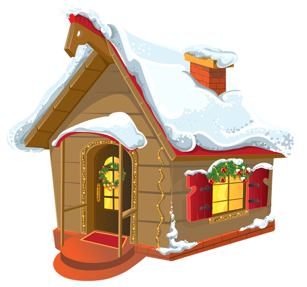 Home clipart winter. Christmas house png image