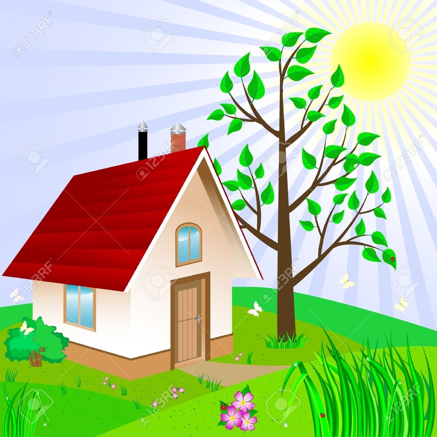 Home clipart yard. Tree sky grass png