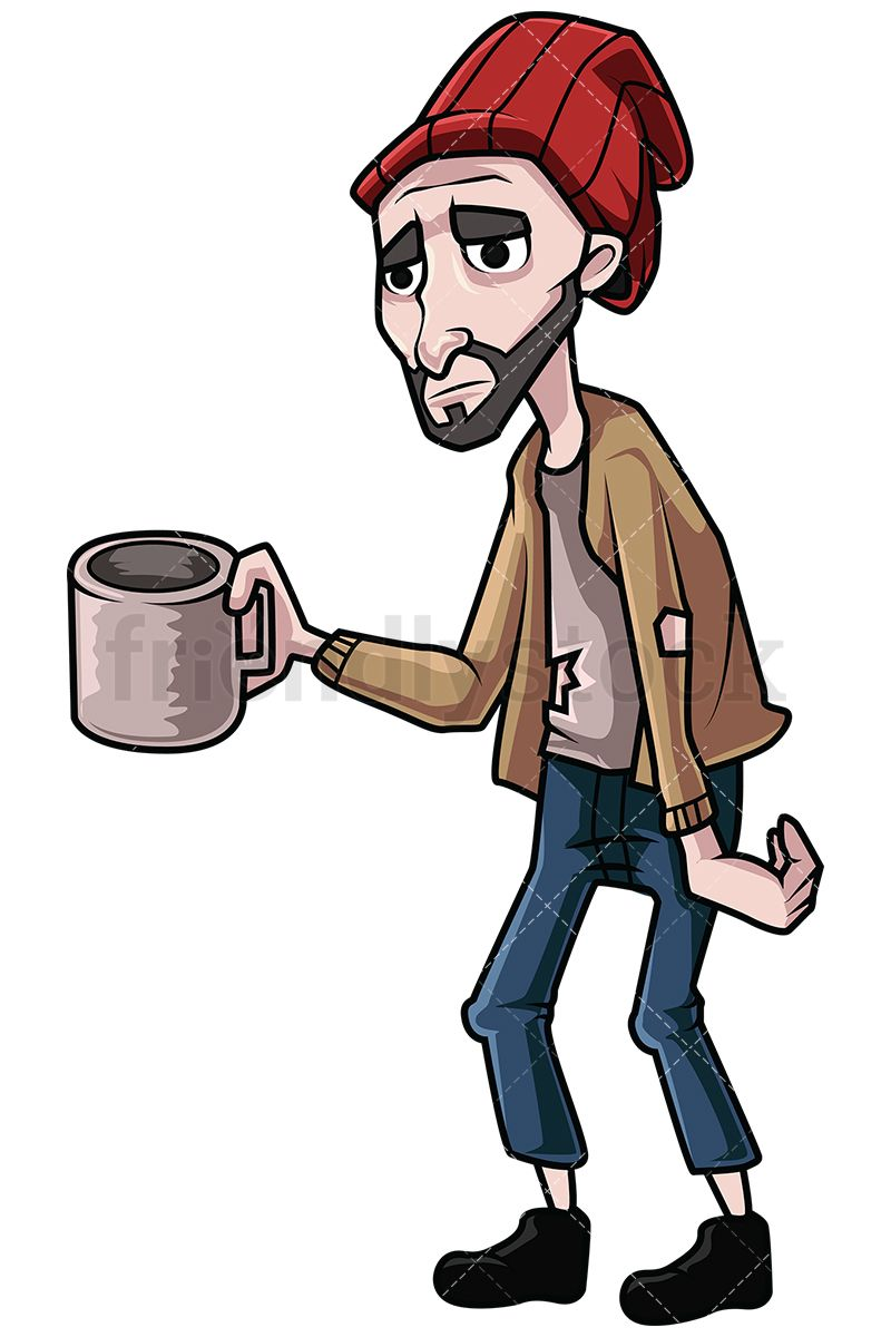Homeless clipart. Man begging for money