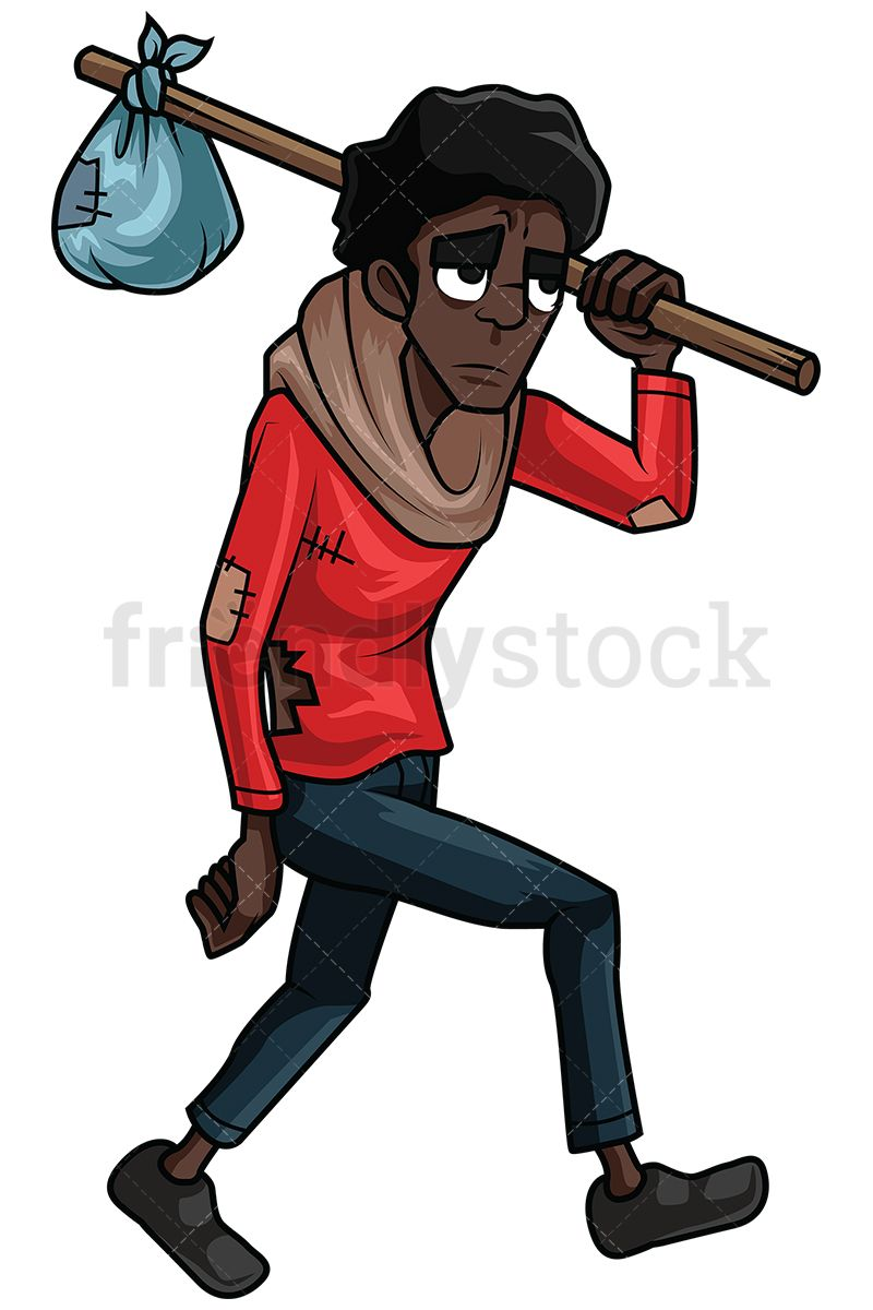 Homeless clipart. Wandering black man vector