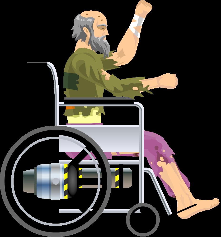 Old clipart viejo. Wheelchair guy happy wheels