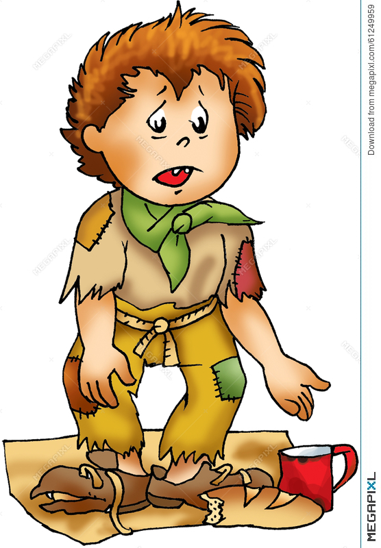 Poor homeless boy character. Poverty clipart orphan girl