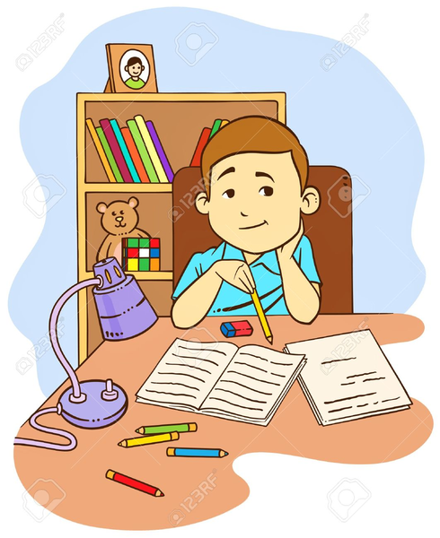 Kid doing free images. Homework clipart