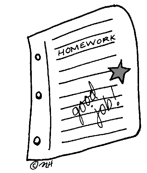 Homework clipart. No black and white