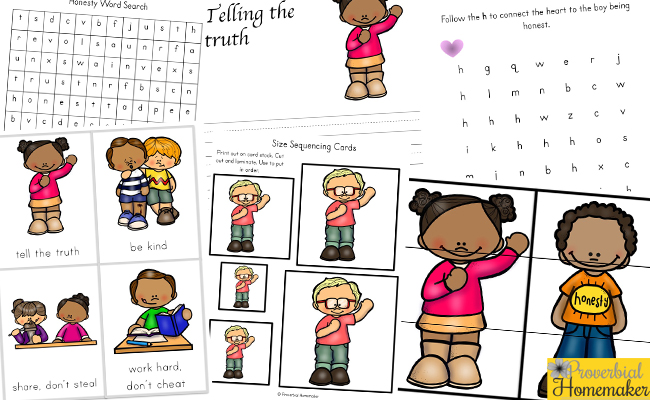 Teach kids printable pack. Honest clipart honesty word