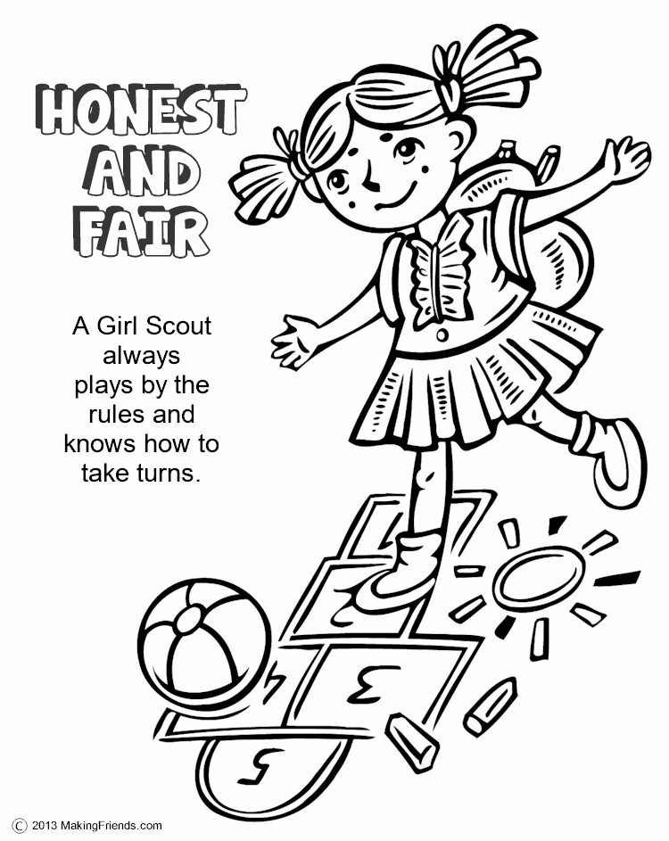 Honesty clipart honest girl. And fair scout coloring