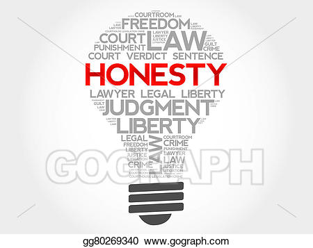 Honest clipart honesty word. Stock illustration drawing gg