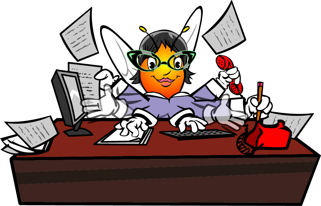 Worker bee honey sting. Manager clipart busy manager