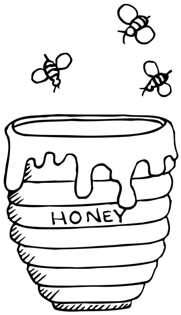 Free images container bees. Honey clipart coloring page