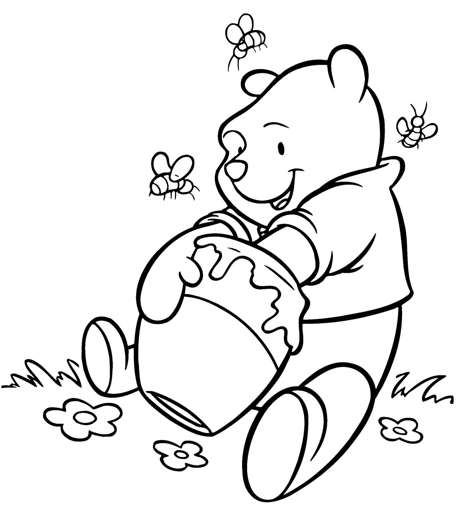 Honey clipart coloring page. Winnie the pooh getting