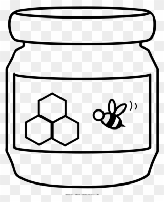 Honey clipart coloring page. Jar full