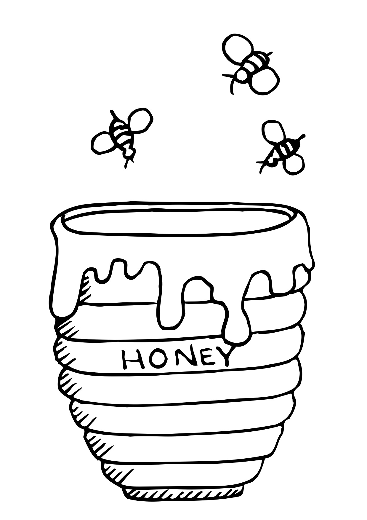 Honey clipart draw. Pot drawing at paintingvalley