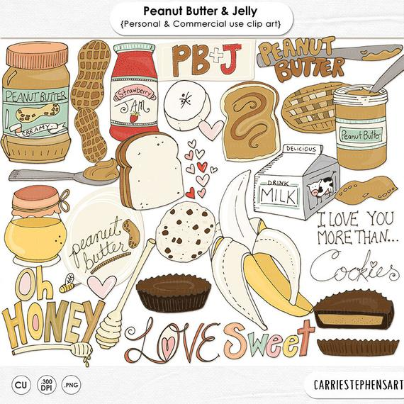 Peanut butter jelly clip. Honey clipart food