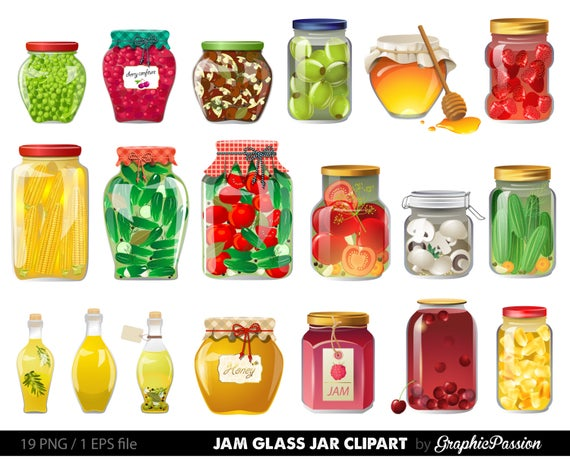 Jam glass jar illustration. Honey clipart food