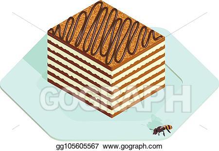 Honey clipart honey cake. Vector in isometric style