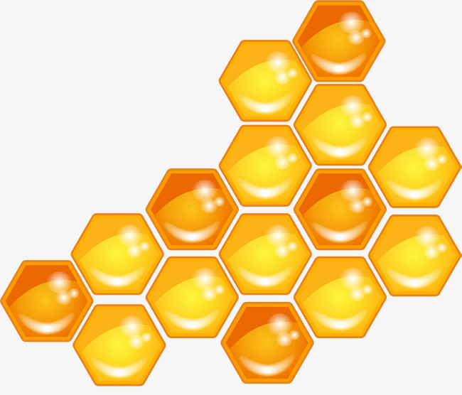 Hand drawn yellow hexagon. Honeycomb clipart