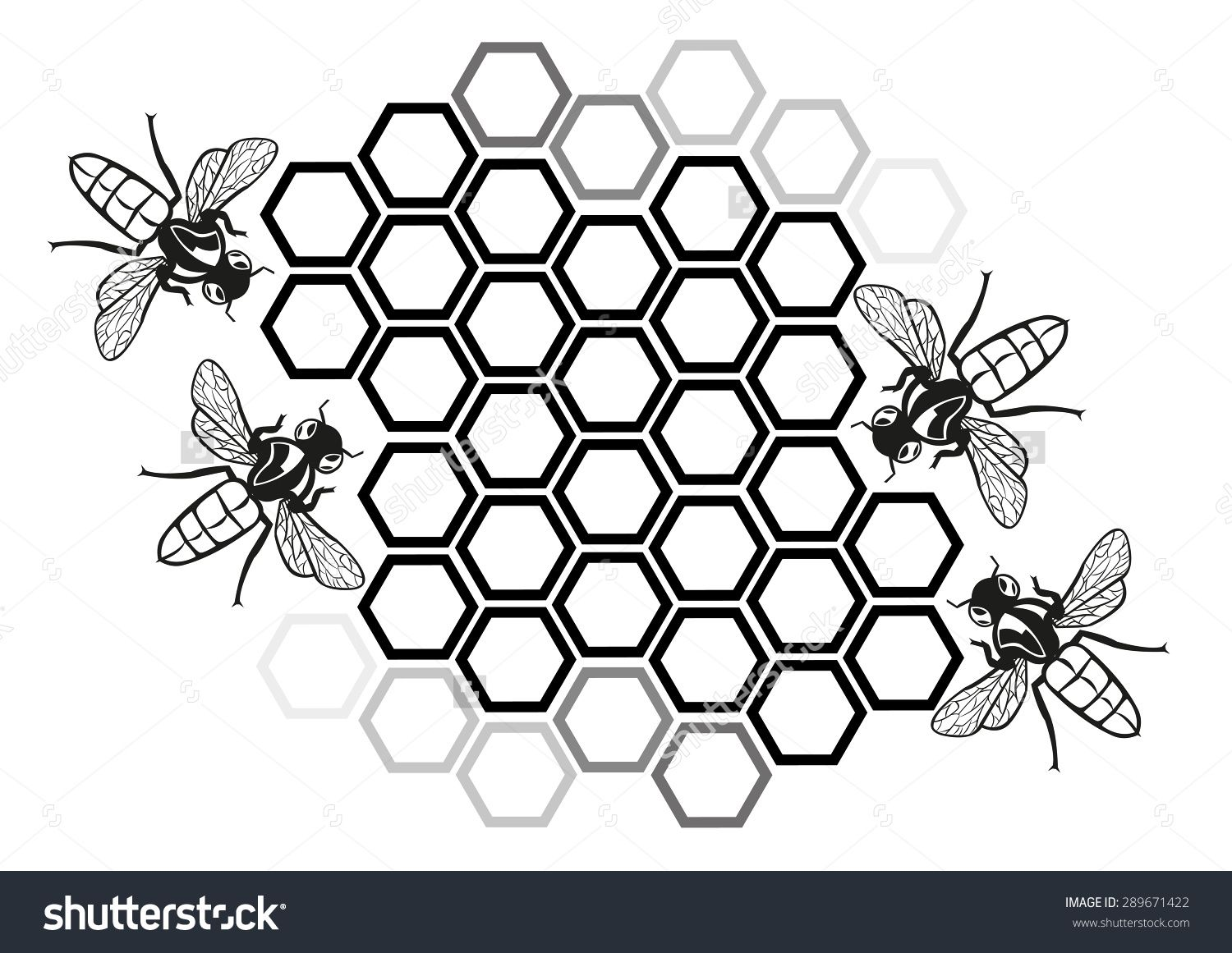 Flat honey bee in. Honeycomb clipart