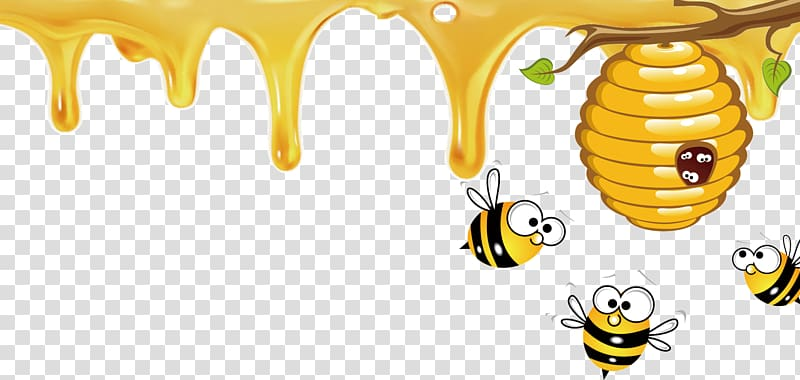 Three bees and beehive. Honeycomb clipart animated
