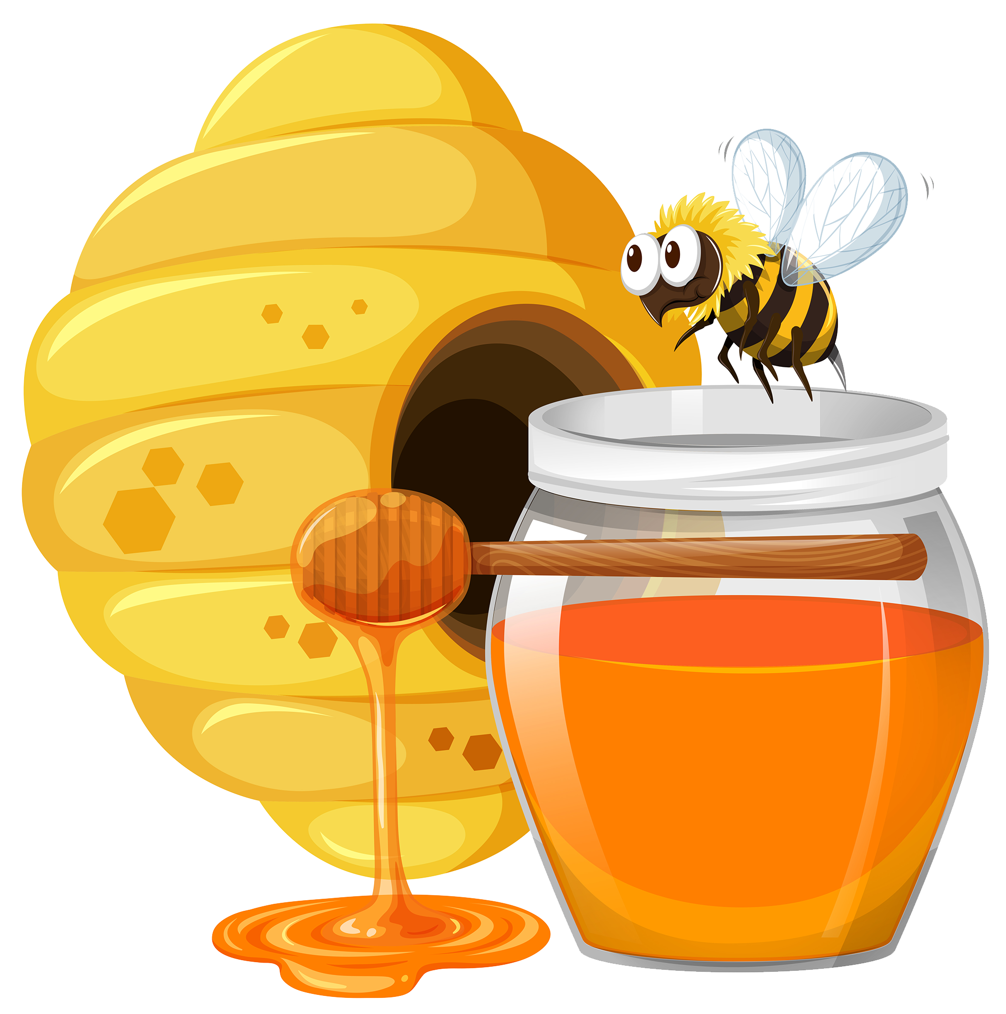 Beehive bee cartoon with. Nest clipart honey