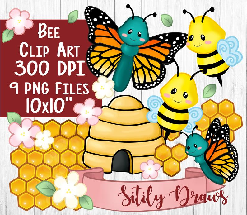 Bee beehive butterfly transparent. Honeycomb clipart clip art