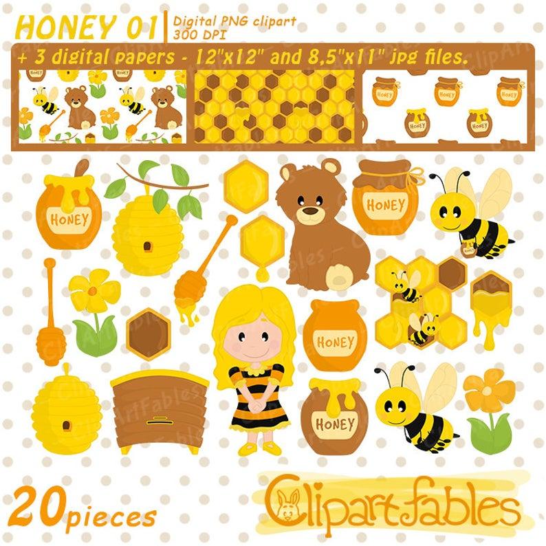 Honeycomb clipart cute. Bees set honey clip