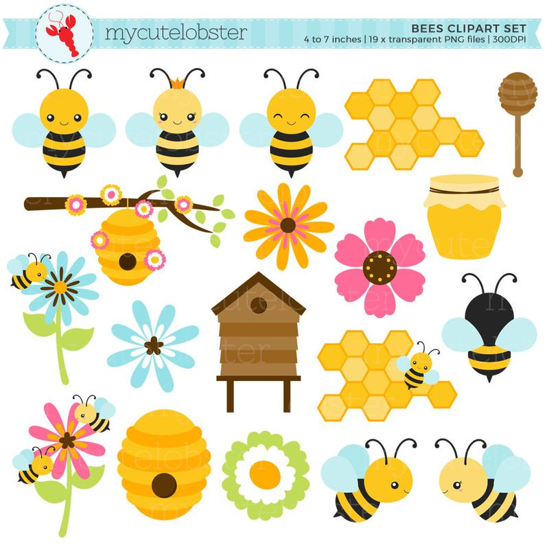 Honeycomb clipart cute. Bees set clip art