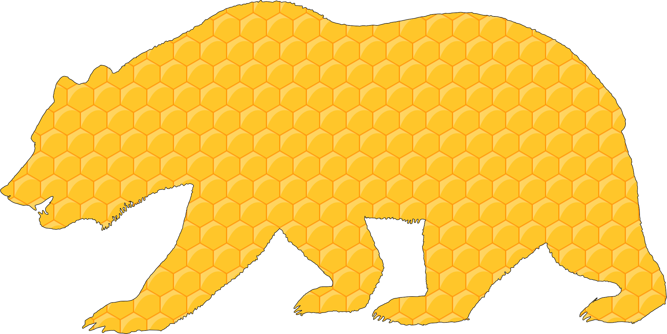 Honeycomb clipart hexagon. Bear with stroke icons