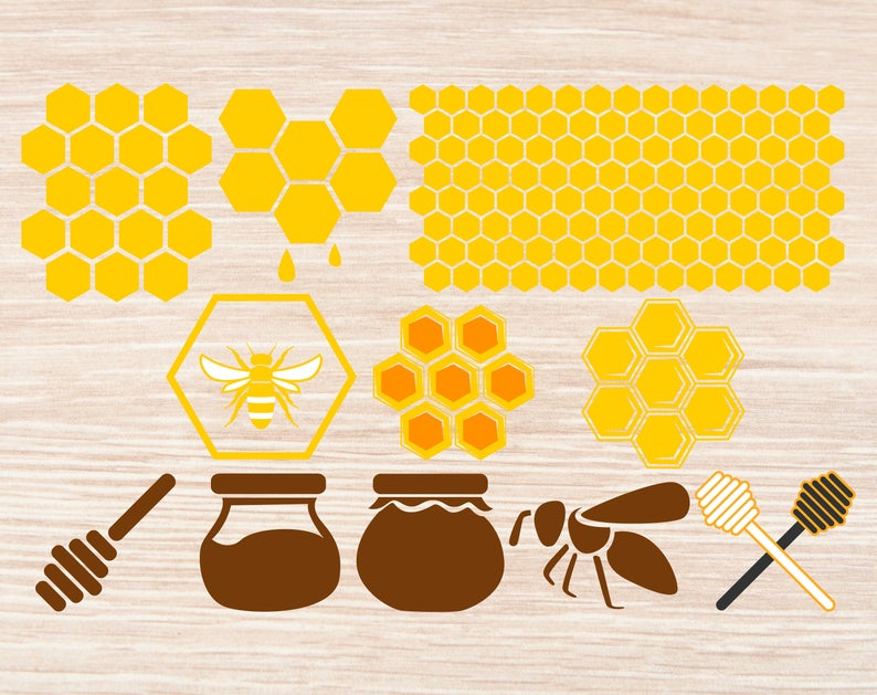 Honeycomb clipart svg. Eps png bee honey