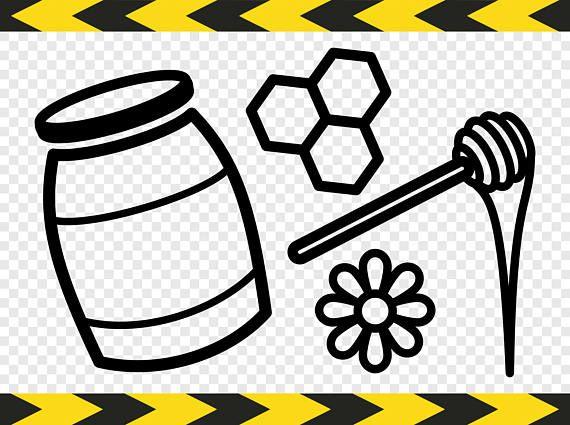 Honey pot jar dipper. Honeycomb clipart svg
