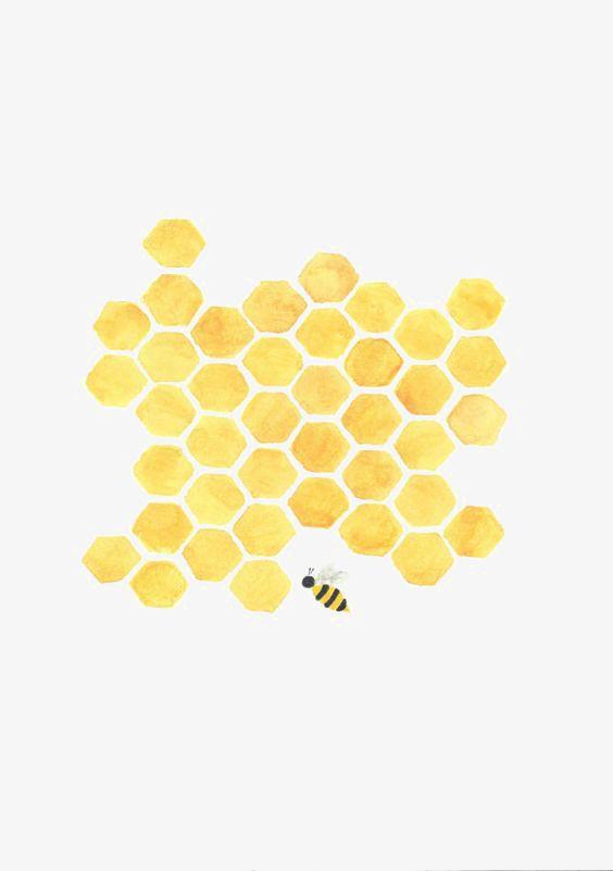 Honeycomb clipart transparent. Cartoon honey collecting nectar