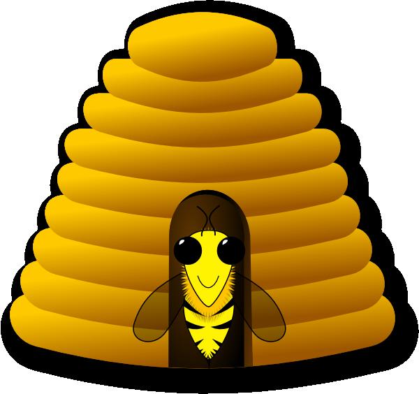 Beehive clip art at. Honeycomb clipart tree drawing