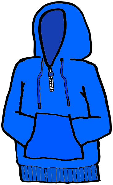 Hands in pouch blue. Hoodie clipart