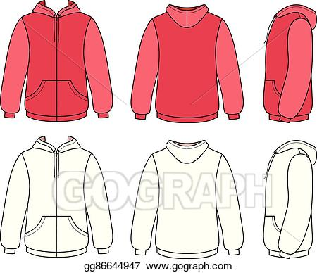 Hoodie clipart jacket outline. Vector illustration unisex template