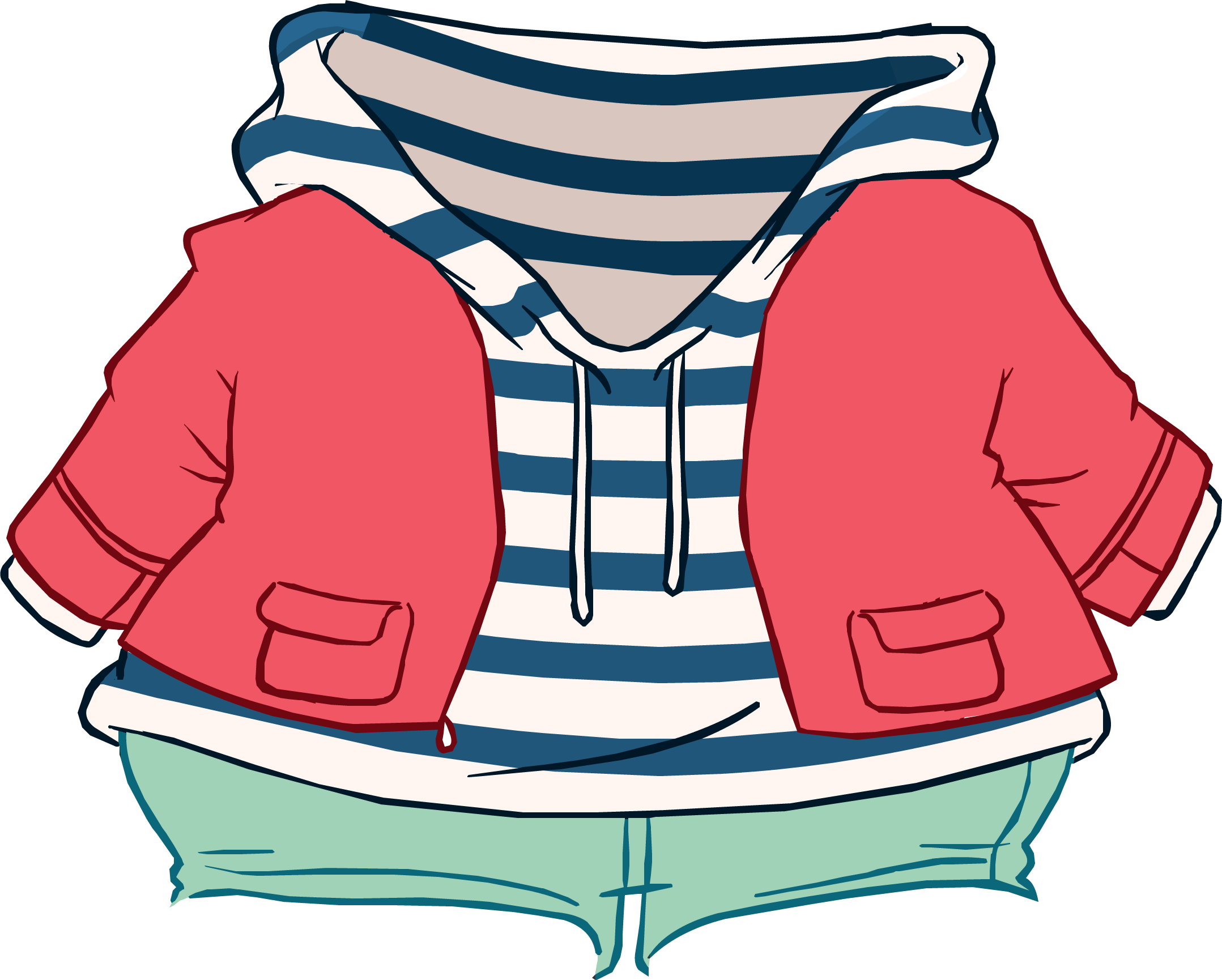 Striped and club penguin. Hoodie clipart pink jacket