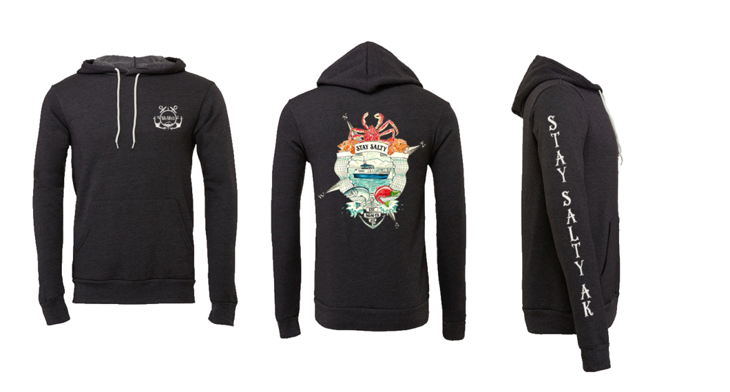 Stay salty ak mountains. Hoodie clipart pullover hoodie