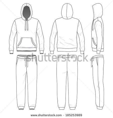 Hoodie clipart sweatsuit. Sweatpants front back side