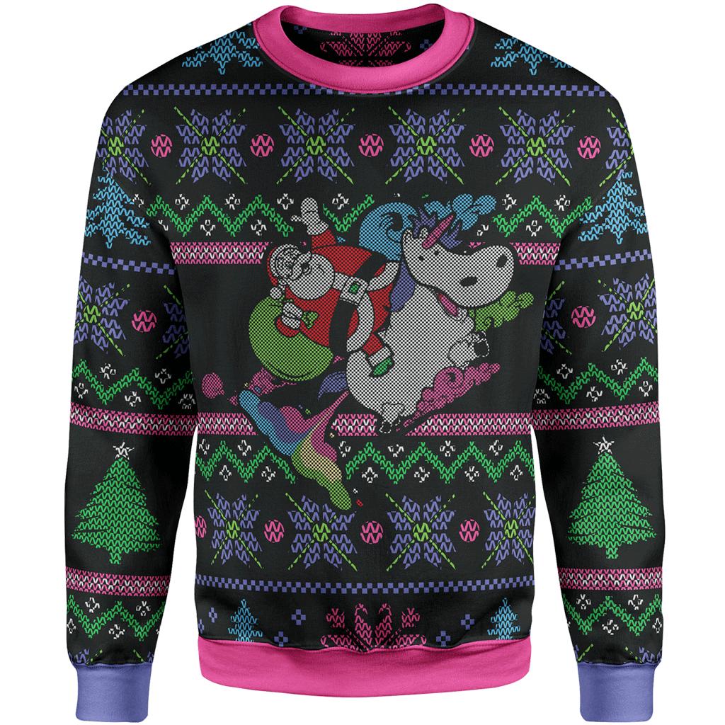 Rainbow unicorn christmas lunafide. Hoodie clipart winter sweater