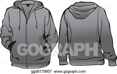 Hoodie clipart zipper jacket. Vector illustration or sweatshirt