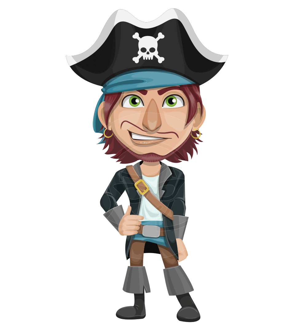 Hook clipart character. Vector male pirate cartoon