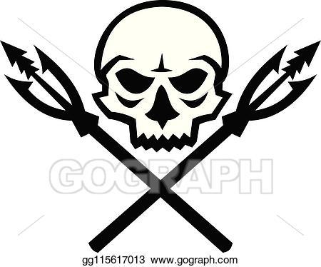 Vector illustration skull fishing. Hook clipart crossed