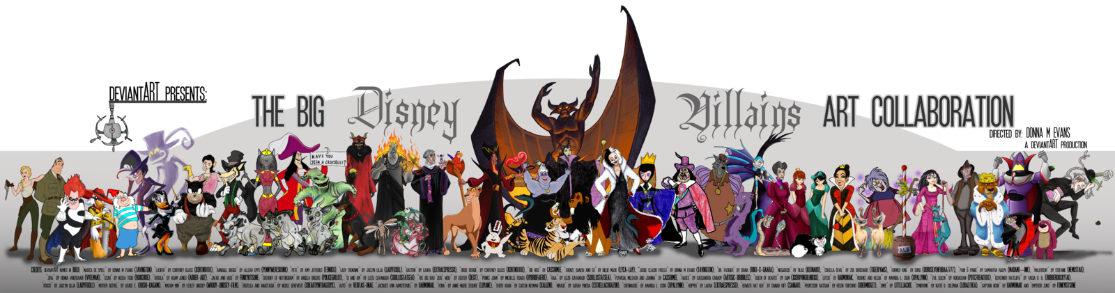 Big villains art collab. Hook clipart disney villans
