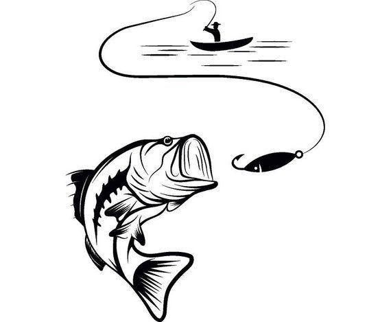 Bass fishing logo angling. Hook clipart hunting