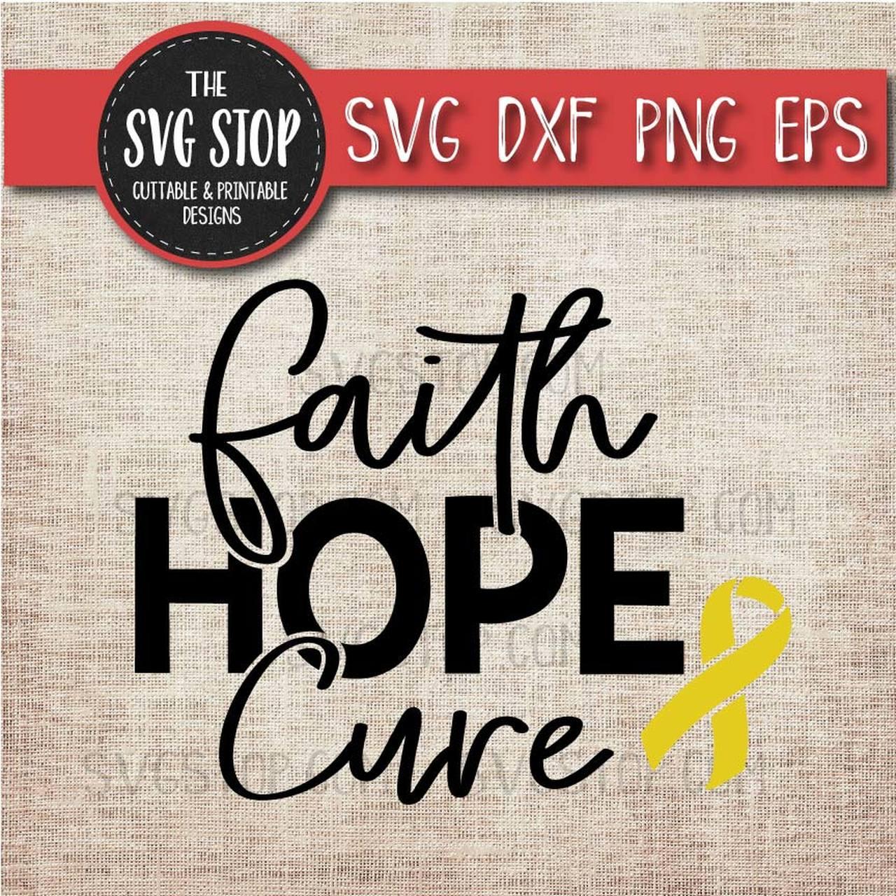 Hope clipart svg. Yellow awareness ribbon faith