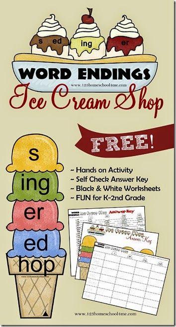 Hops clipart educational game. Word endings ice cream