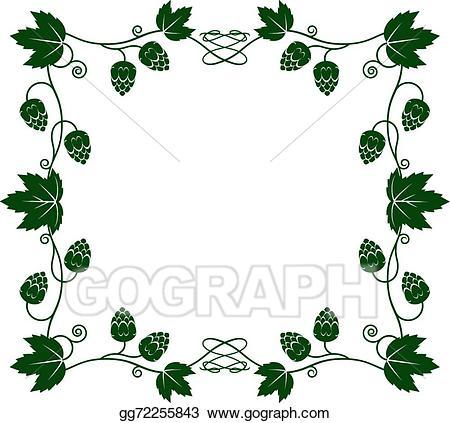 Hops clipart vine. Vector illustration frame eps